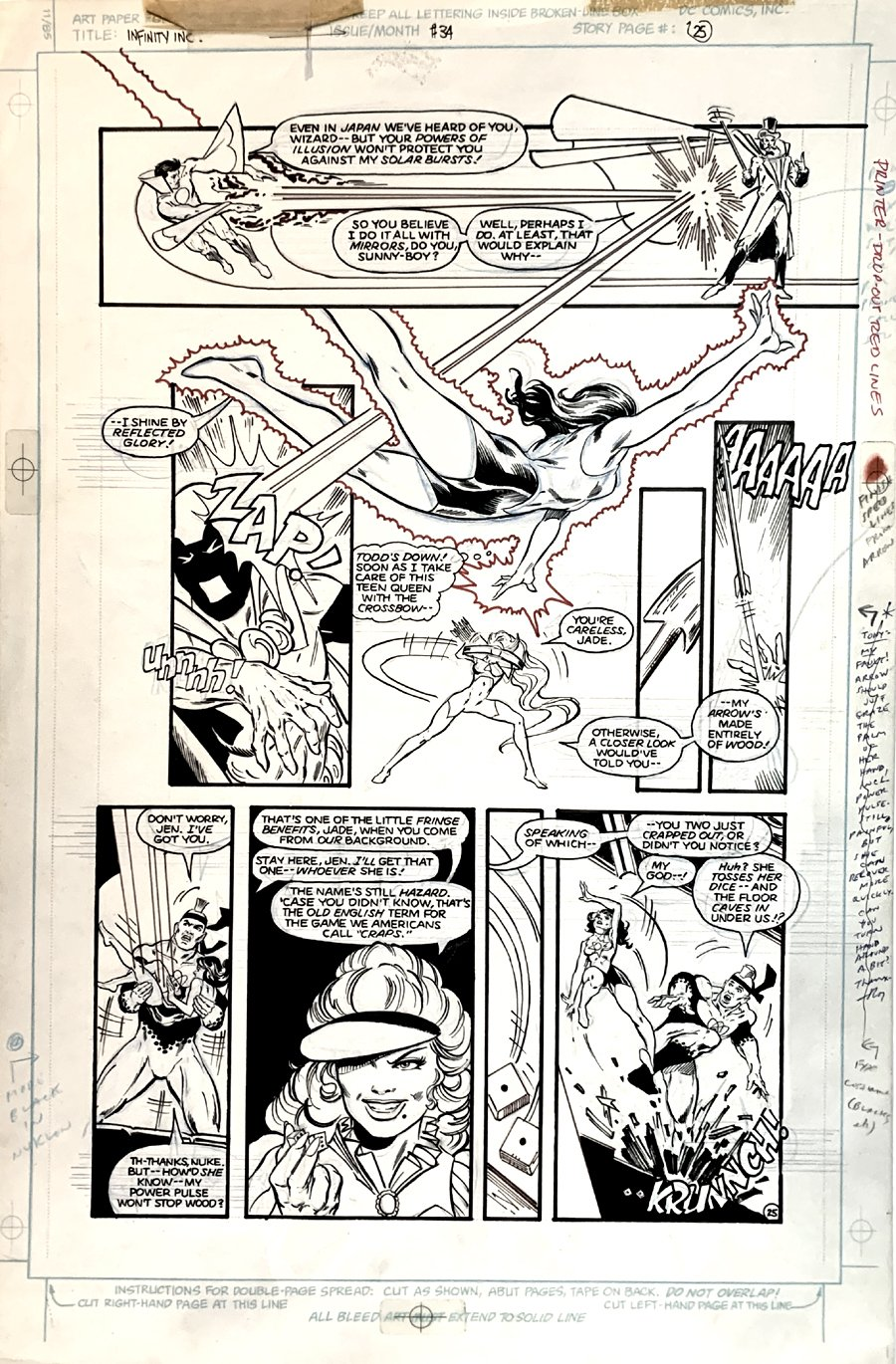 Infinity, Inc. #34 p 25 (BEST BATTLE PAGE IN BOOK!) Large Art -1986