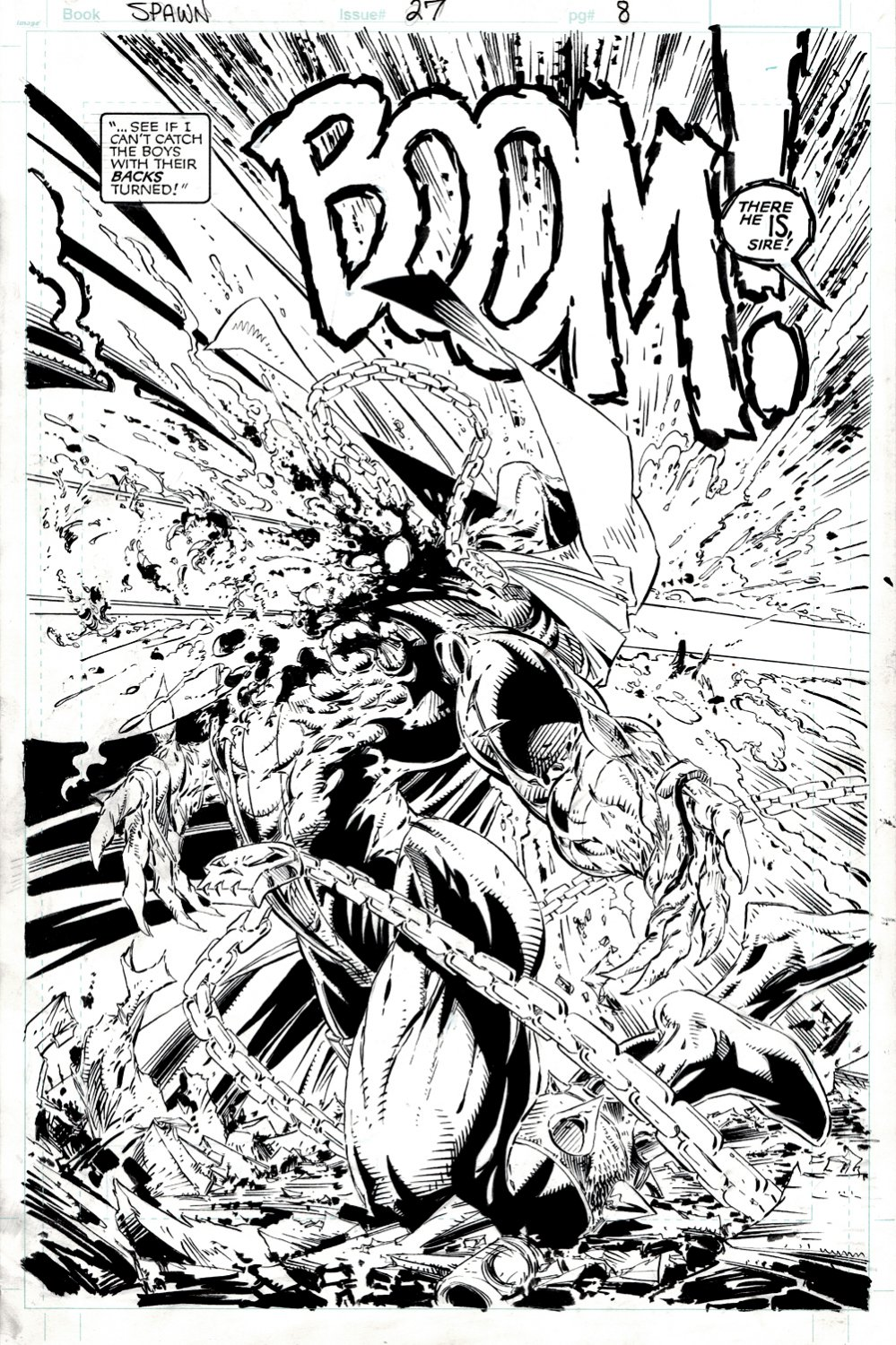 Spawn #27 p 8 SPLASH (FULL McFARLANE INKS! 1ST CURSE!) 1994