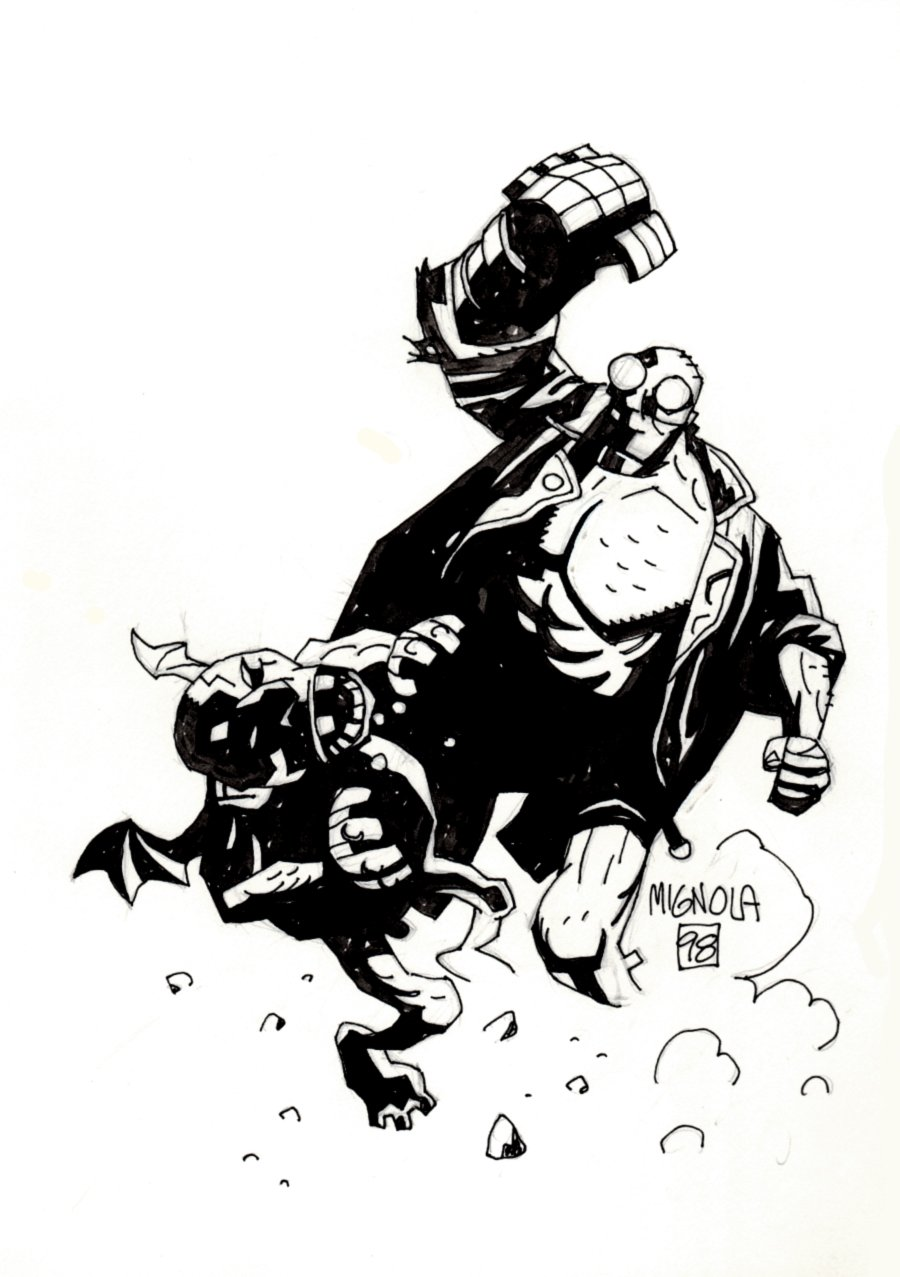 Hellboy Battling Gargoyle Pinup (SOLD LIVE ON 'DUELING DEALERS OF COMIC ART' EPISODE #38 PODCAST ON 9-29-2021 (RE-WATCH THIS FUNNY ART SELLING SHOW HERE)