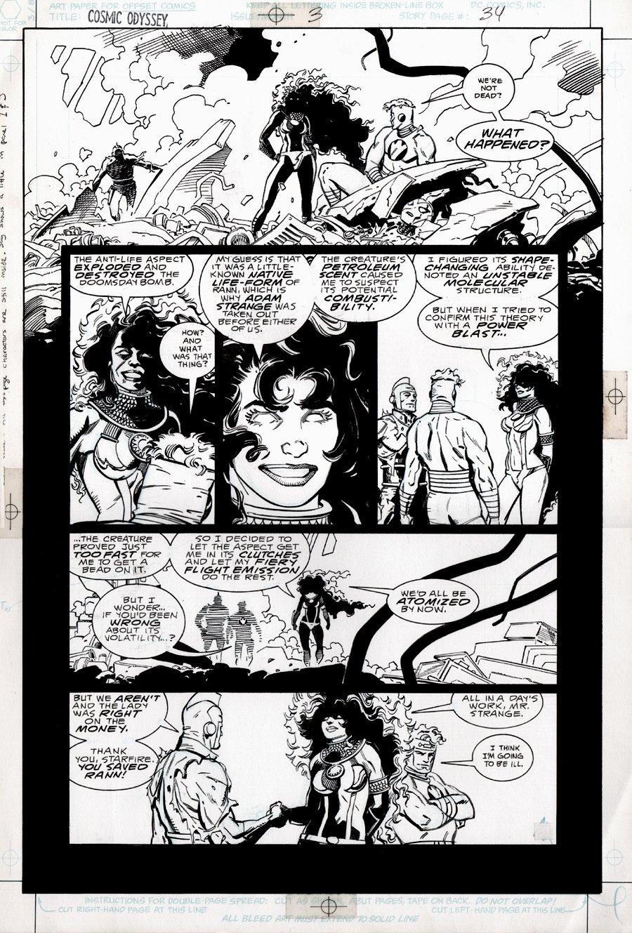 Cosmic Odyssey #3 p 34 (STARFIRE, ADAM STRANGE, LIGHTRAY!) Large Art - 1988