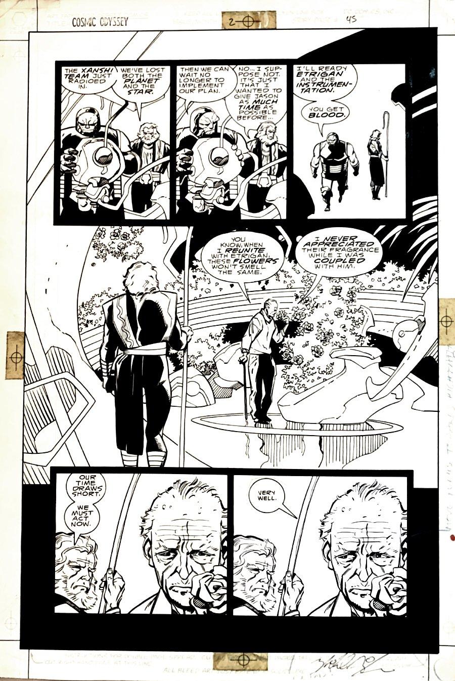 Cosmic Odyssey #2 p 45 (Darkseid, Highfather, Jason Blood!) Large Art - 1988