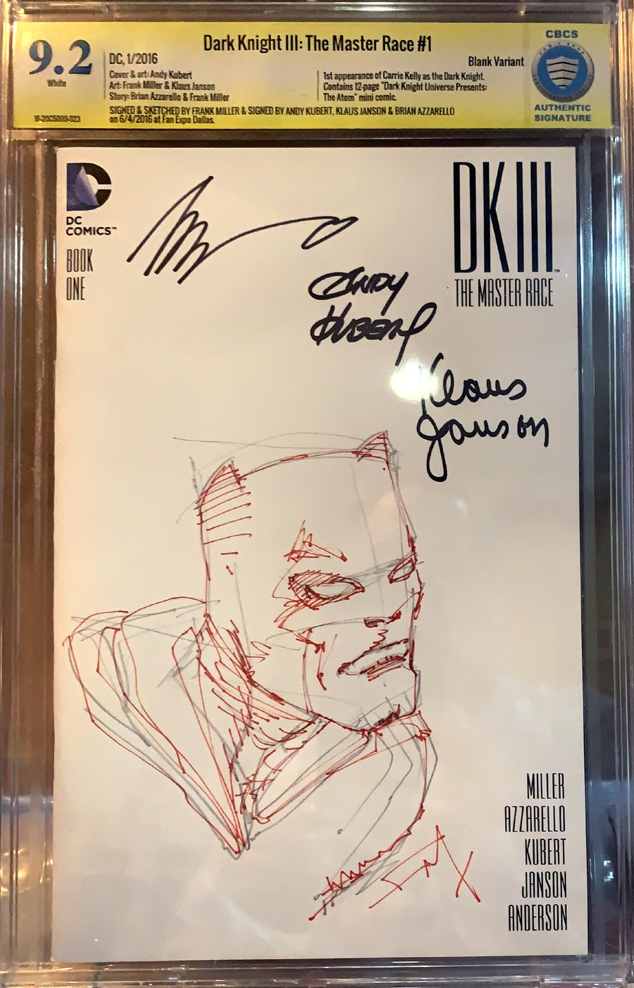 Dark Knight III: The Master Race #1 Frank Miller Sketch Cover (Penciled & Inked!)