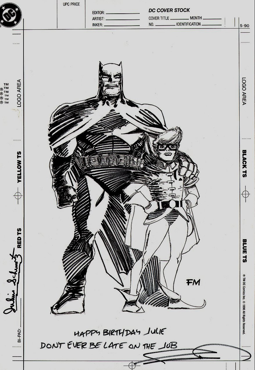 'The Dark Knight Returns' Cover Quality Illustration Drawn On DC Cover Stock (1989)