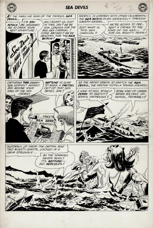 Sea Devils #14 p 2 (COVER SCENE! Sea Devils Throughout Watching Neptune & Hercules Battling!) 1963