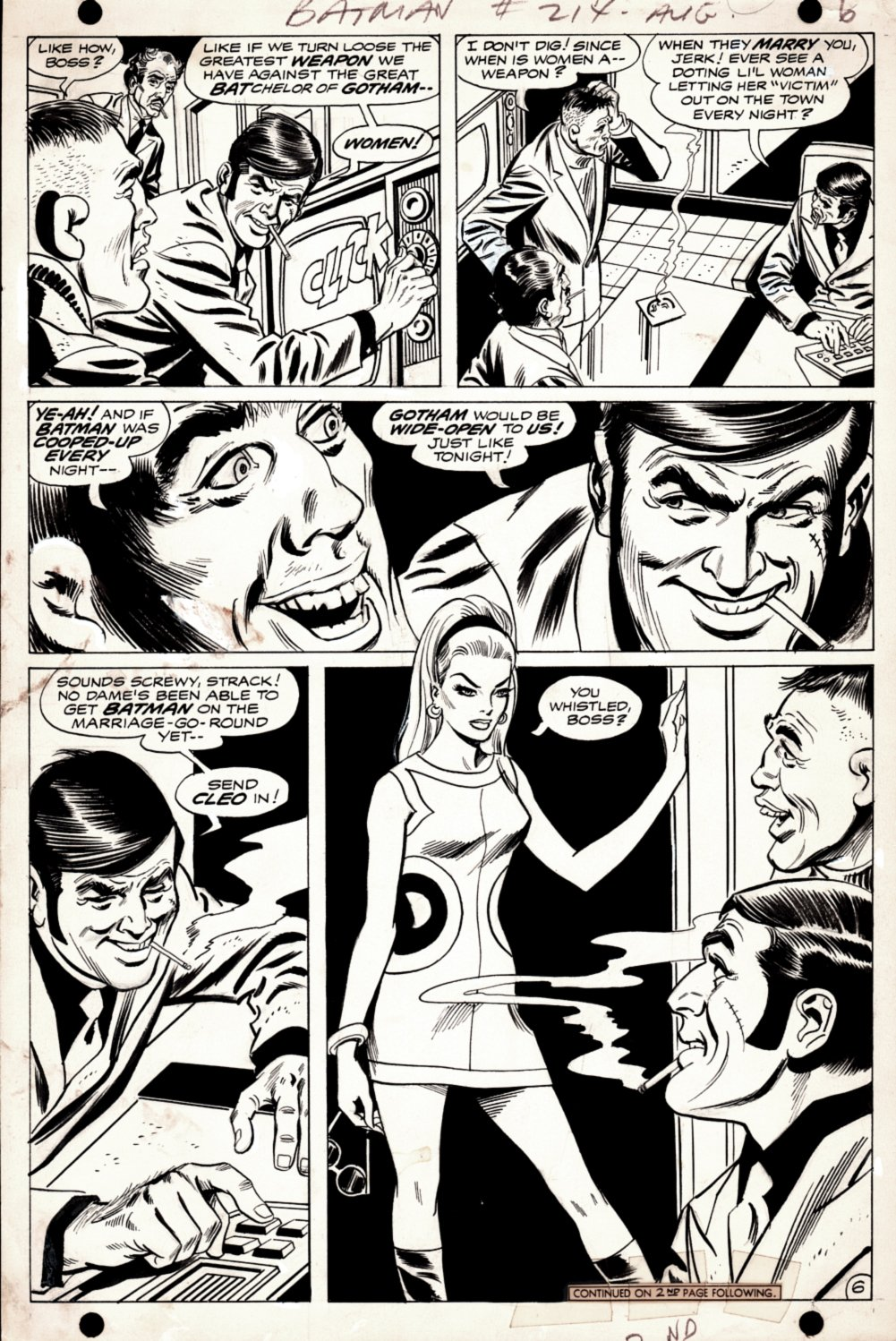 Batman 214 p 6 (SOLD LIVE ON 'DUELING DEALERS OF COMIC ART' EPISODE #28 PODCAST ON 8-2-2021 (RE-WATCH THIS FUNNY ART SELLING SHOW HERE)