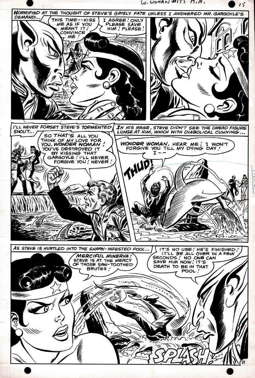 Wonder Woman #175 p 11 (SILVER AGE, WONDER WOMAN KISSES MR. GARGOYLE!) 1967