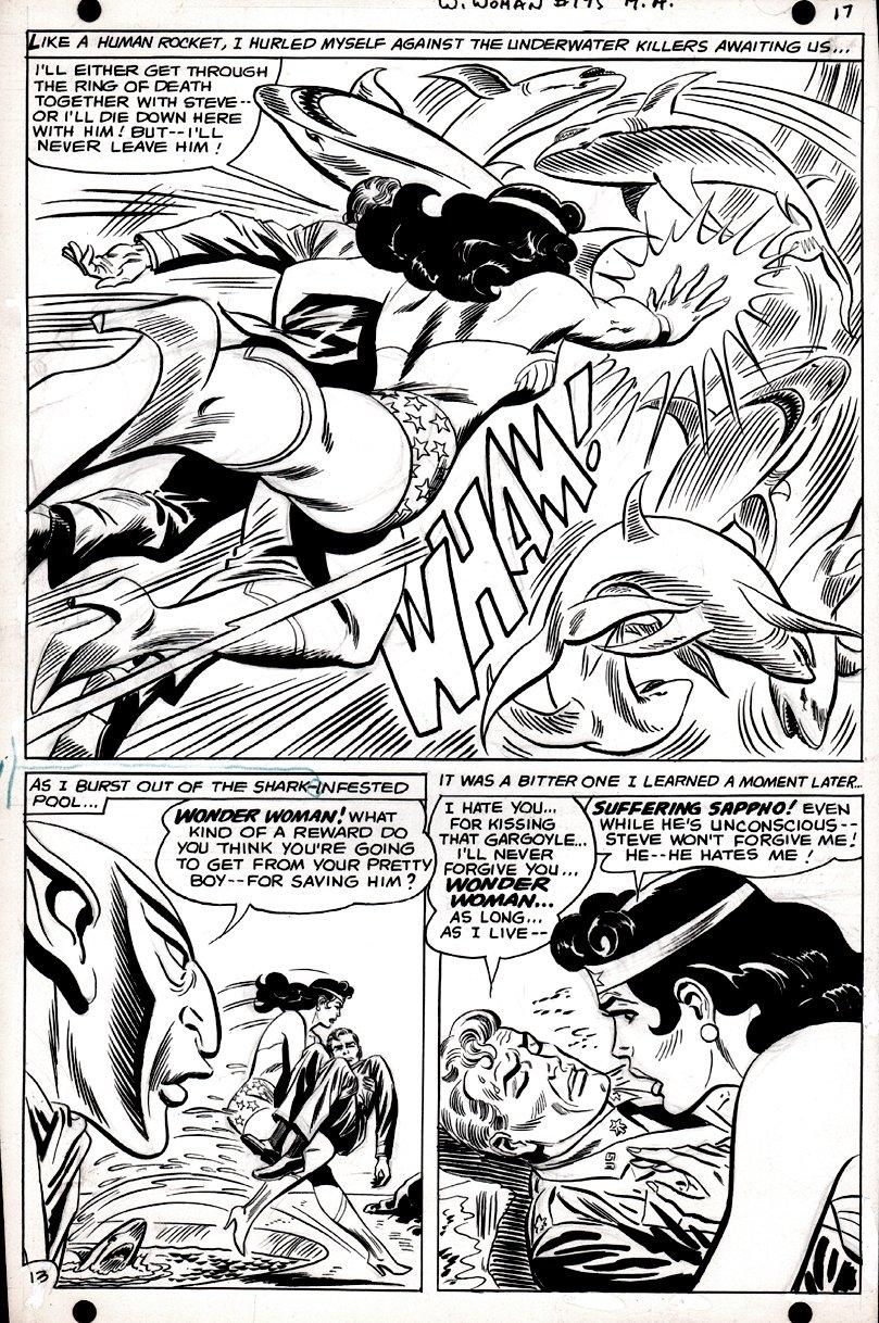 Wonder Woman #175 p 13 SPLASH (SILVER AGE, WONDER WOMAN BATTLES SHARK!) 1967