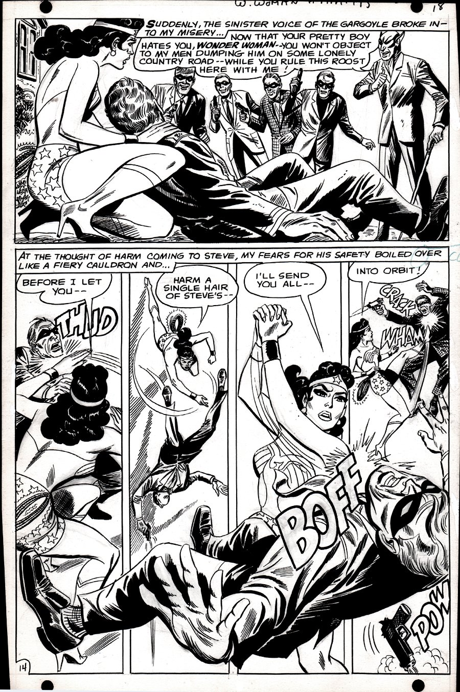 Wonder Woman #175 p 14 (SILVER AGE, WONDER WOMAN IN EVERY PANEL BATTLES MR. GARGOYLE'S GANG!) 1967