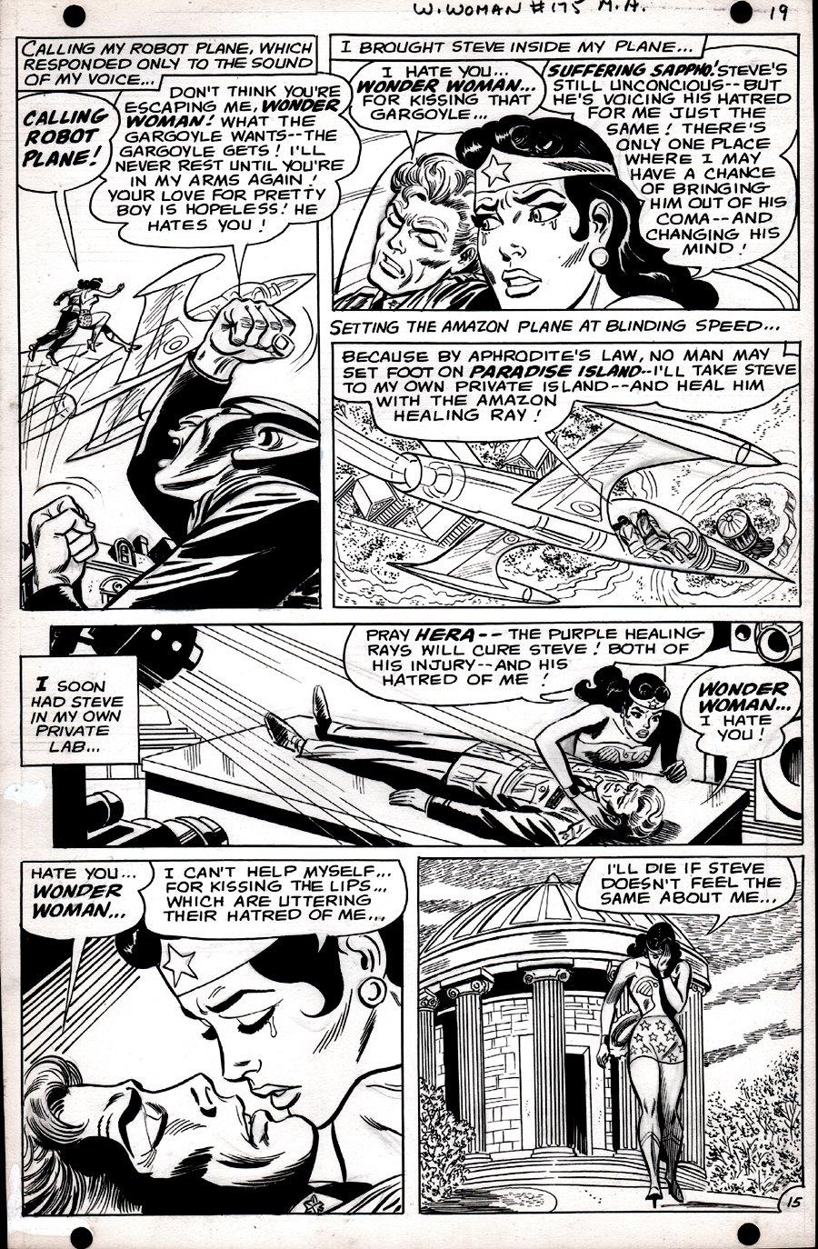 Wonder Woman #175 p 15 (SILVER AGE, WONDER WOMAN KISSES STEVE TREVOR!) 1967
