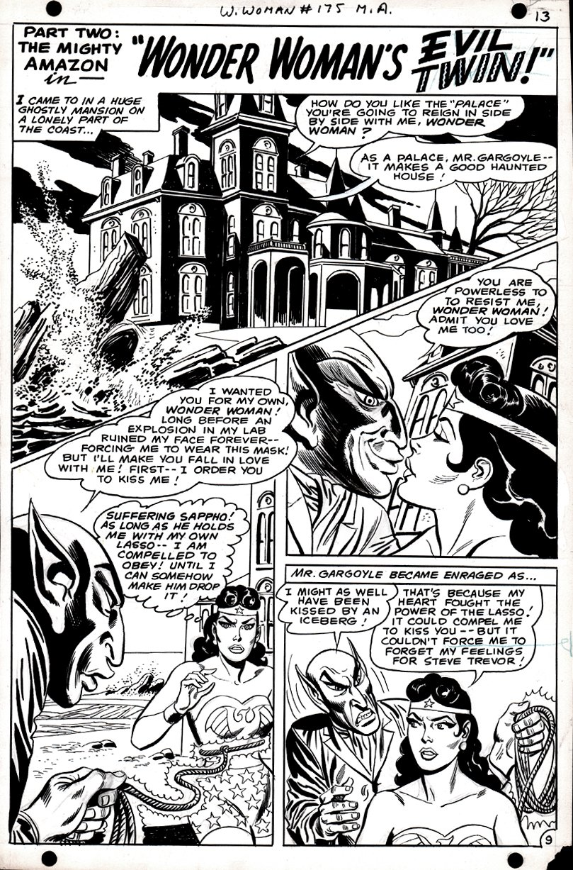 Wonder Woman #175 p 9 (SILVER AGE WONDER WOMAN KISSES MR. GARGOYLE!) 1967