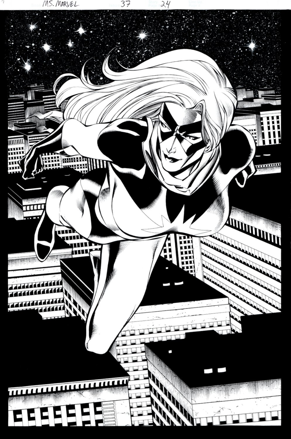 Ms Marvel #37 p 24 SPLASH (SOLD LIVE ON 'DUELING DEALERS OF COMIC ART' EPISODE #10 PODCAST ON 3-31-2021 (RE-WATCH OUR LIVE ART SELLING PODCAST HERE!)