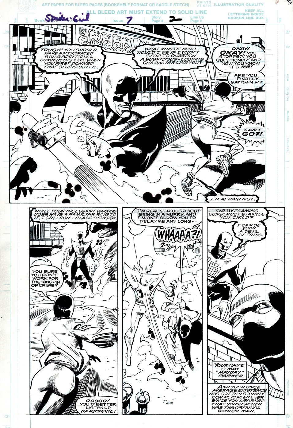 Spider-Girl #7 p 2 Semi-Splash (Spider-Girl Battles Darkdevil!) 1998