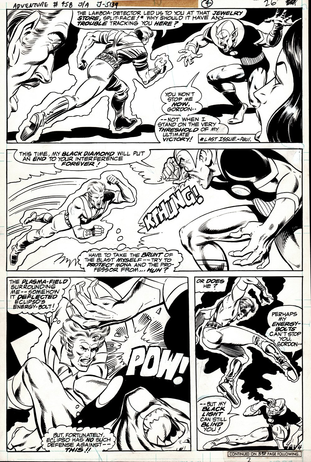 Adventure Comics #458 p 4 (ECIPSO BATTLE PAGE INKED BY BOB LAYTON!) 1978