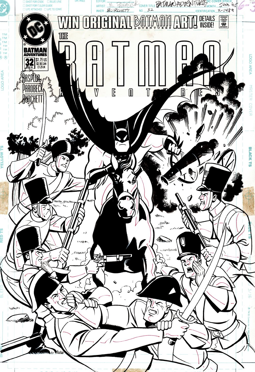 Batman Adventures #32 Cover (Great BATMAN On Horseback Charging Image!) 1995