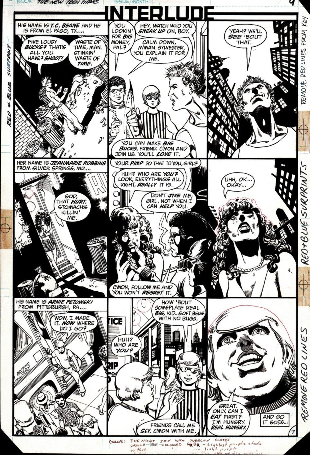 The New Teen Titans #27 p 8 (SOLD LIVE ON 'DUELING DEALERS OF COMIC ART' EPISODE #13 PODCAST ON 4-21-2021 (RE-WATCH OUR LIVE ART SELLING PODCAST HERE!)