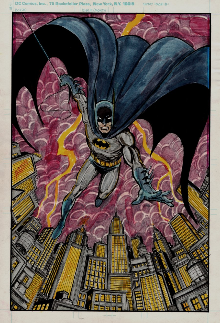 Bronze Age BATMAN Penciled, Inked, & Hand Colored Pinup (Possibly The EARLIEST Perez Batman Pinup!) 1980