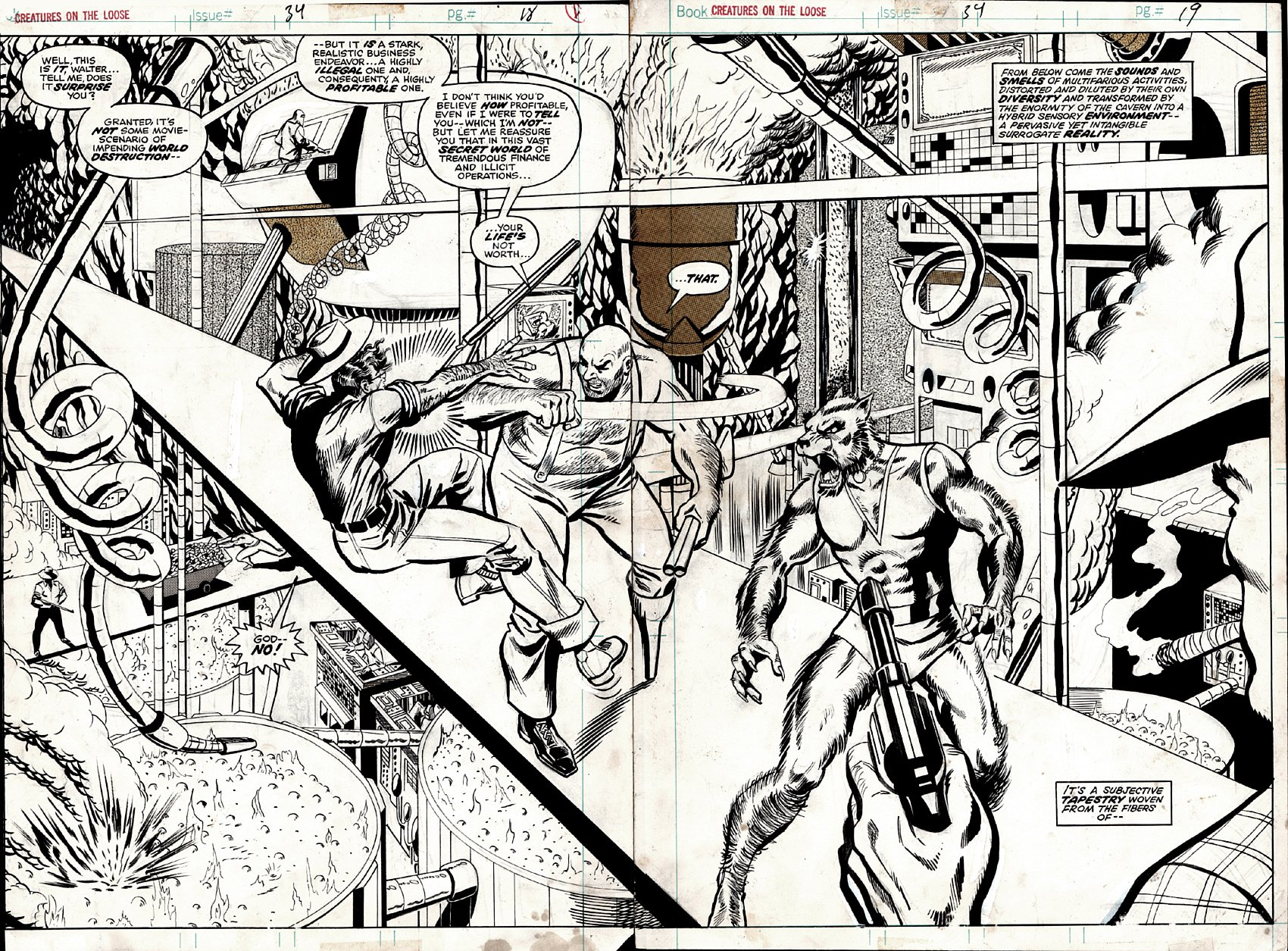 Creatures on the Loose #34 p 18-19 Double Spread Splash On 2 Boards (1975)