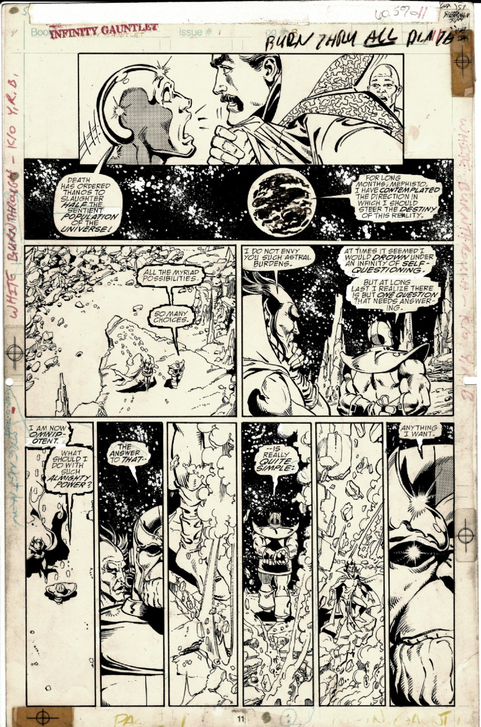 Infinity Gauntlet #1 p 11 (ICONIC PAGE! THANOS TELLS MEPHISTO HIS PLAN TO EXTERMINATE HALF THE UNIVERSE! SILVER SURFER & DR STRANGE!) 1991