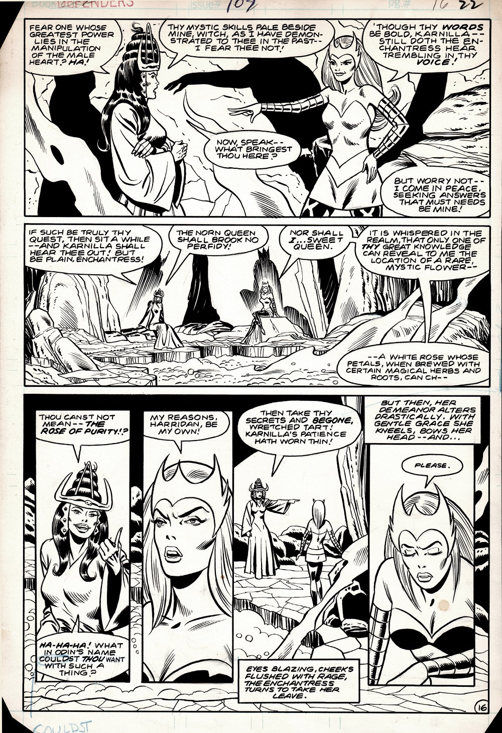 Defenders #107 p 16 (Karnilla, Queen of The Norns & The Enchantress!) 1982