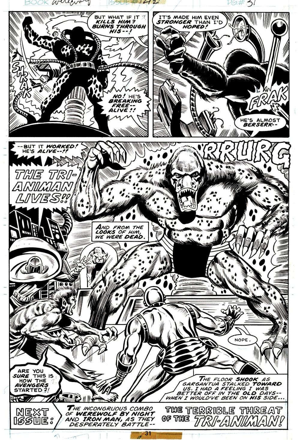 Werewolf by Night #42 Last Page SPLASH (IRON MAN, WEREWOLF BY NIGHT, MASKED MARAUDER, TRI-ANIMAN!) 1976