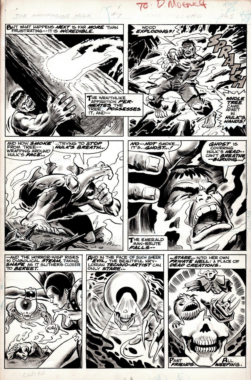 Rampaging Hulk #7 p 9 ( AWESOME HULK WASH-TONE BATTLE PAGE!) 1977