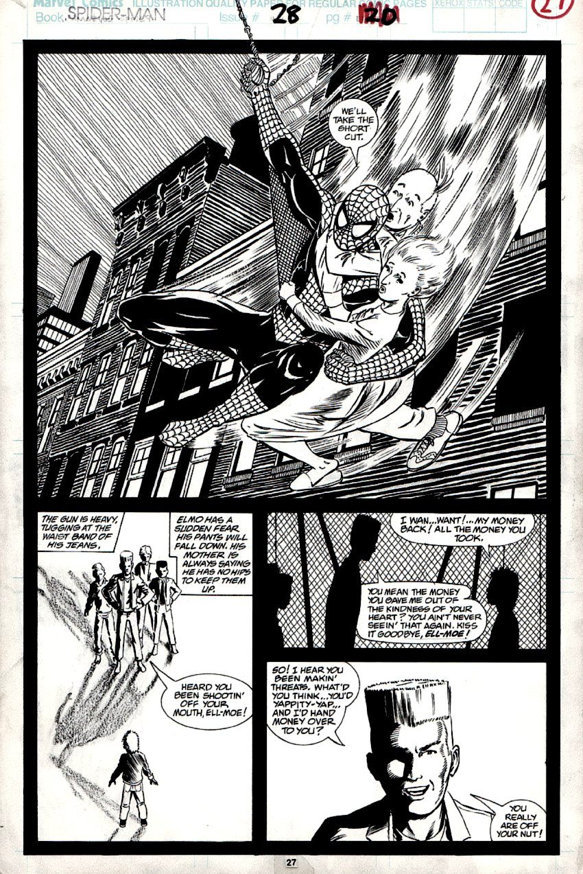 Spider-Man #28 p 27 SPLASH (LARGE SWINGING SPIDER-MAN!) 1992