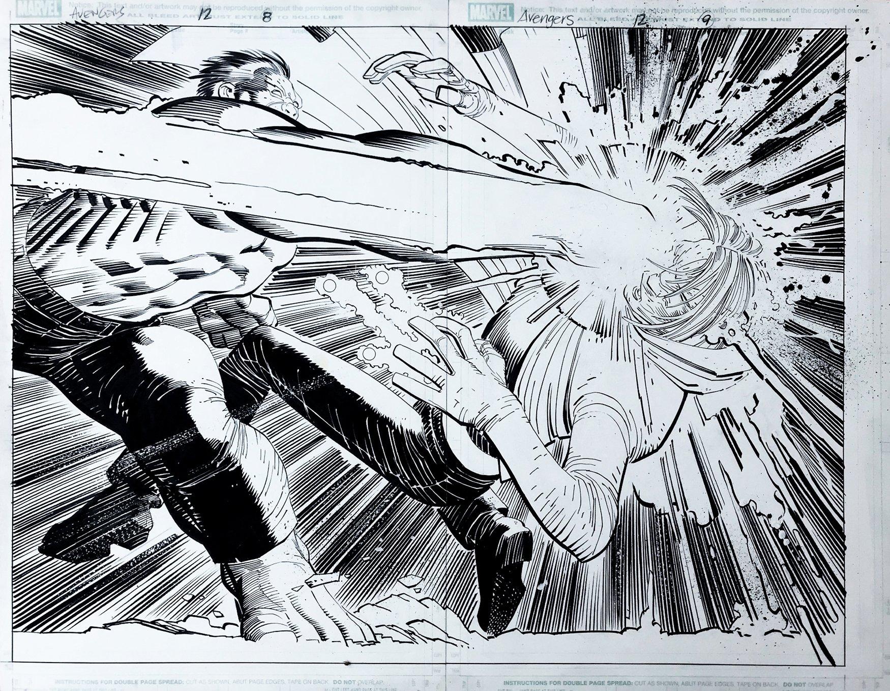 Avengers #12 p 8-9 DOUBLE SPLASH (HULK SMASHES...THE HOOD!) 2011