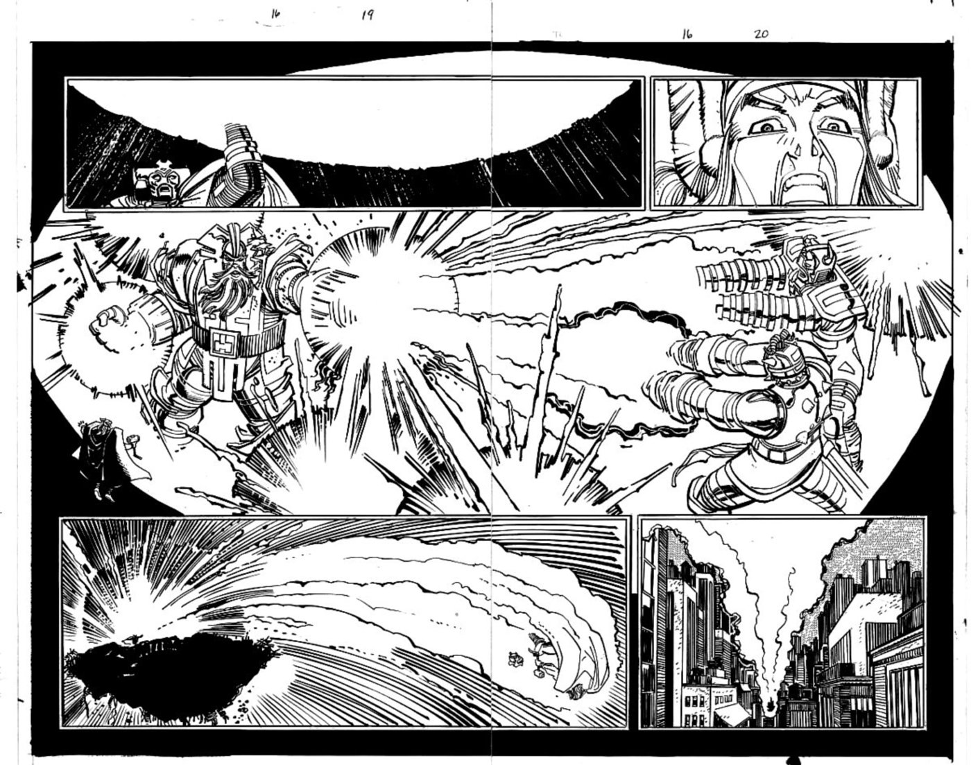 Thor #16 p 19-20 Double Page Spread (THOR & ODIN BATTLE GIANTS!) 1999