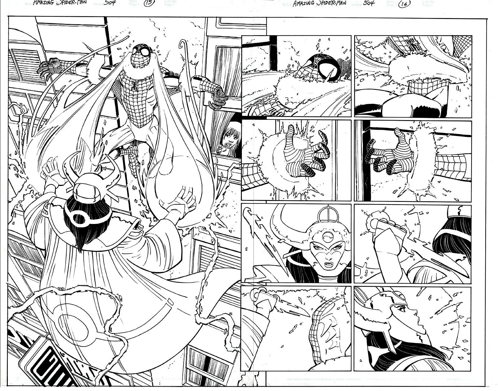Amazing Spider-Man #504 p 15-16 Double Page Spread (SPIDER-MAN BATTLES LOKI!) 2003
