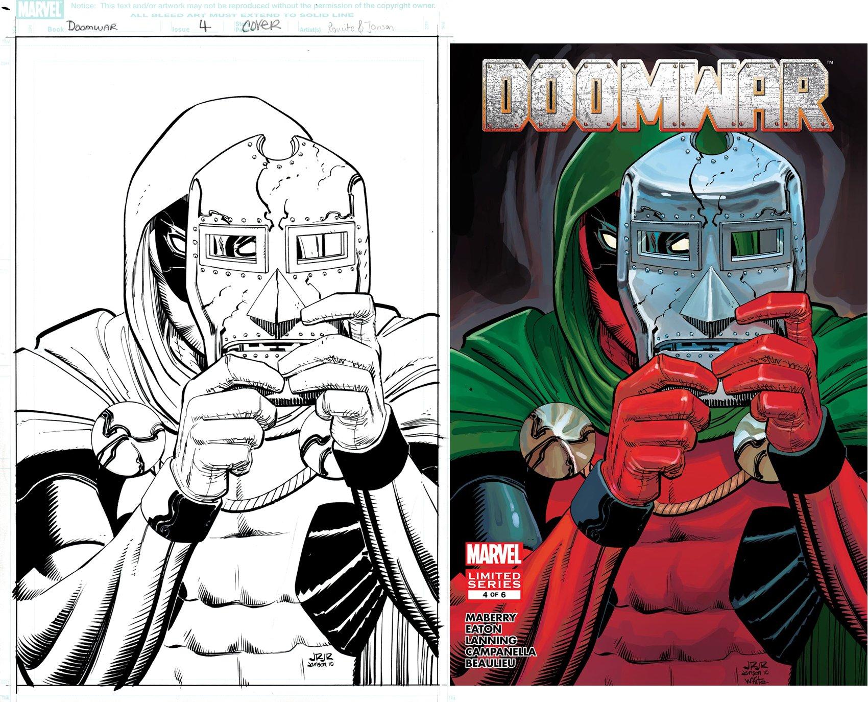 Doomwar #4 cover (DEADPOOL WEARS DOOMS MASK & CLOAK...LOL) 2010