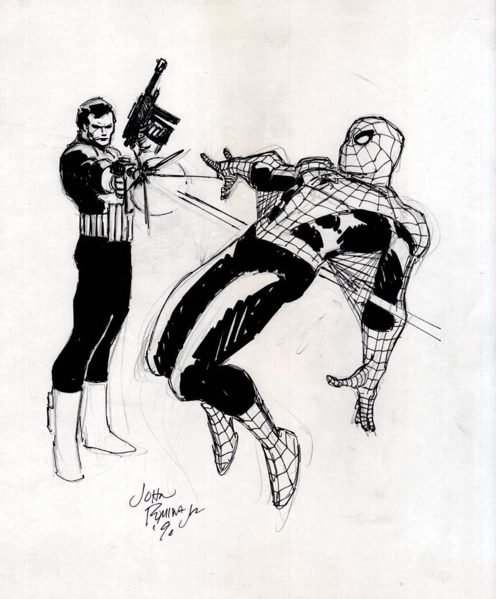 Punisher Shoots Spider-Man Pinup (1990)