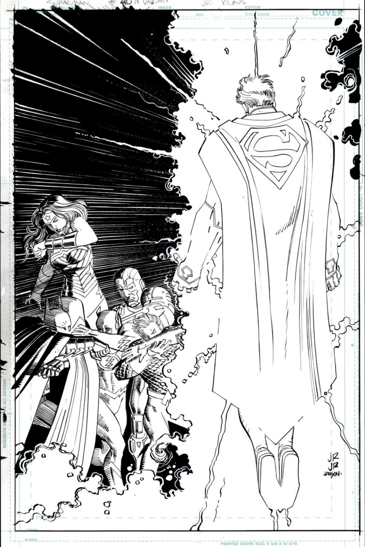 Superman #40 Cover (Superman Battles The Entire JLA: Wonder Woman, Batman, The Flash, Cyborg, Aquaman!) 2015