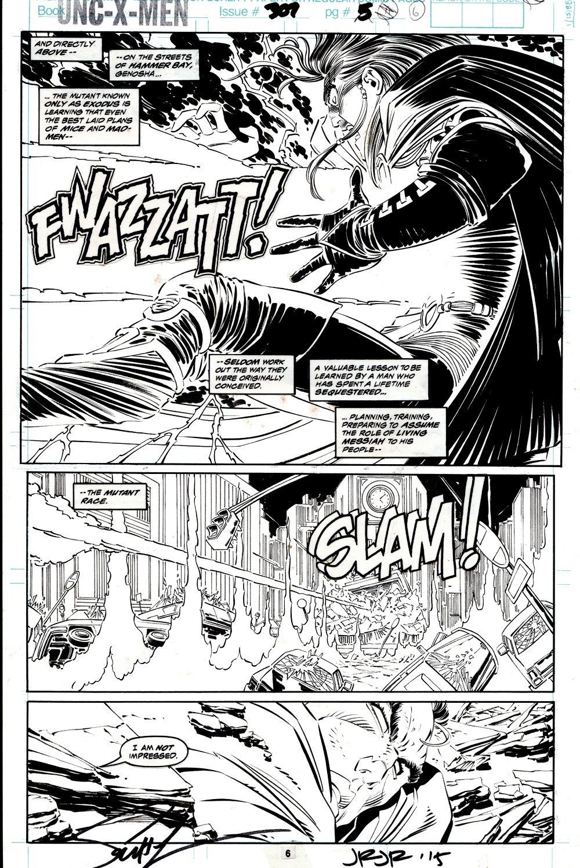 Uncanny X-Men #307 p 6 SEMI-SPLASH (EXODUS BATTLES SERSI!) 1993