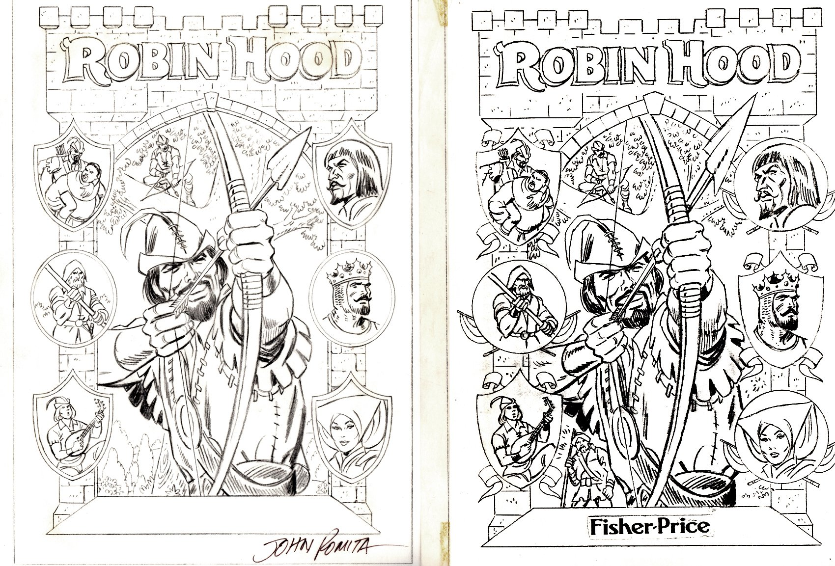 Marvel Classics ComicsRobin Hood Audio Book Cover Finished Pencils (SOLD LIVE ON THE ROMITAMAN ART DROP PODCAST: 8-28-2021 (RE-WATCH THIS ART SELLING SHOW HERE)