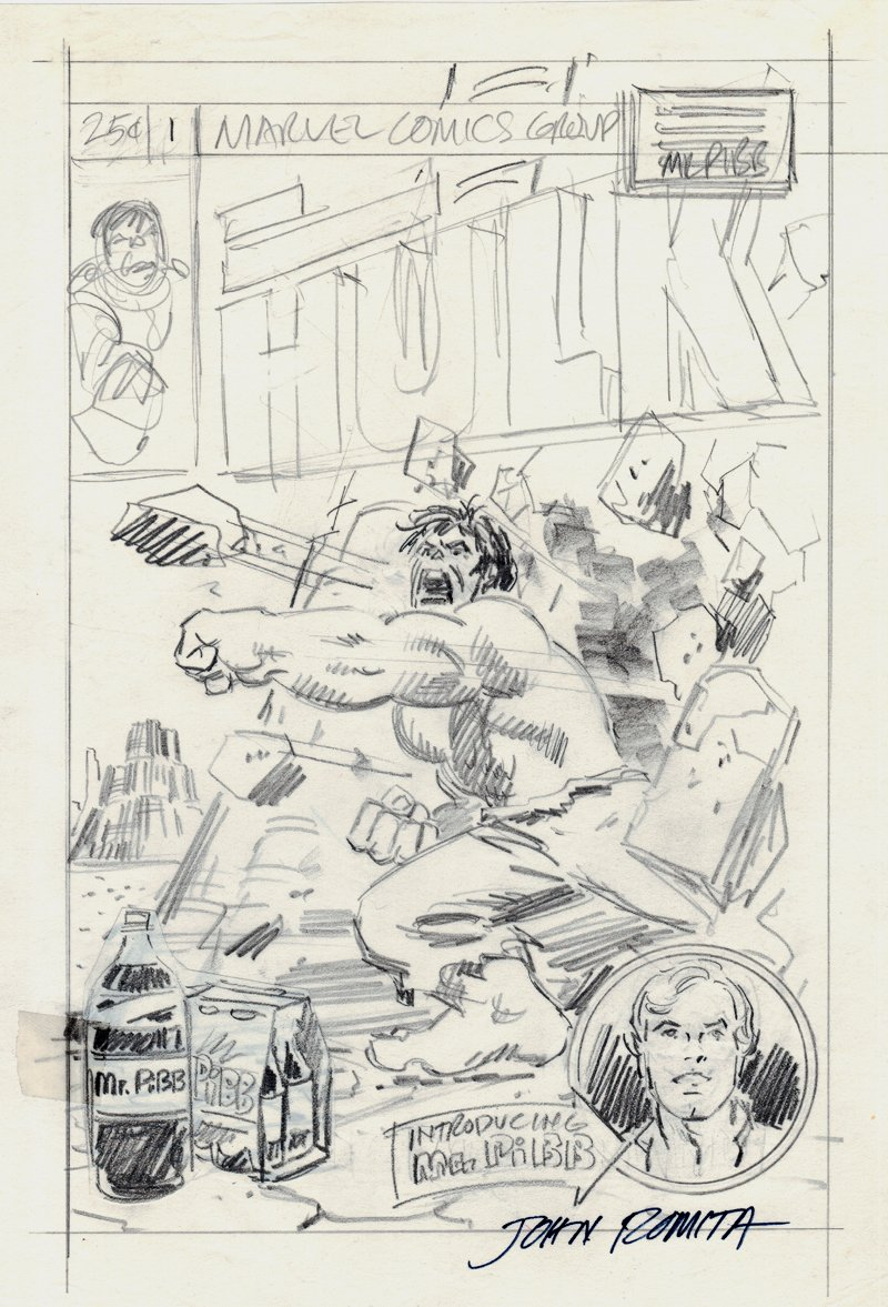 Incredible Hulk Cvr Prelim (SOLD LIVE ON 'DUELING DEALERS OF COMIC ART' EPISODE #29 PODCAST ON 8-4-2021 (RE-WATCH THIS FUNNY ART SELLING SHOW HERE)
