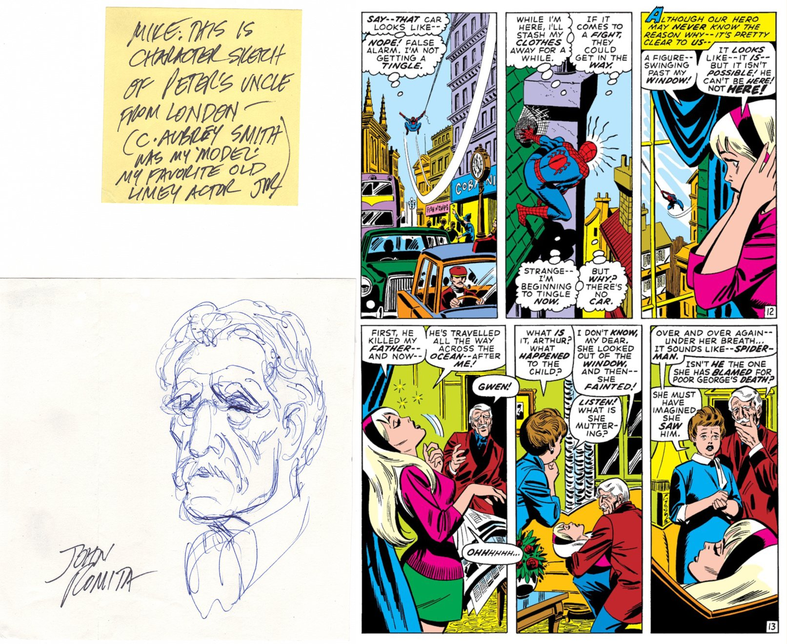Arthur Stacy: Capt Stacy's Brother, 1st Drawing For ASM 95 (SOLD LIVE ON 'DUELING DEALERS OF COMIC ART' EPISODE #30 PODCAST ON 8-9-2021 (RE-WATCH THIS FUNNY ART SELLING SHOW HERE)