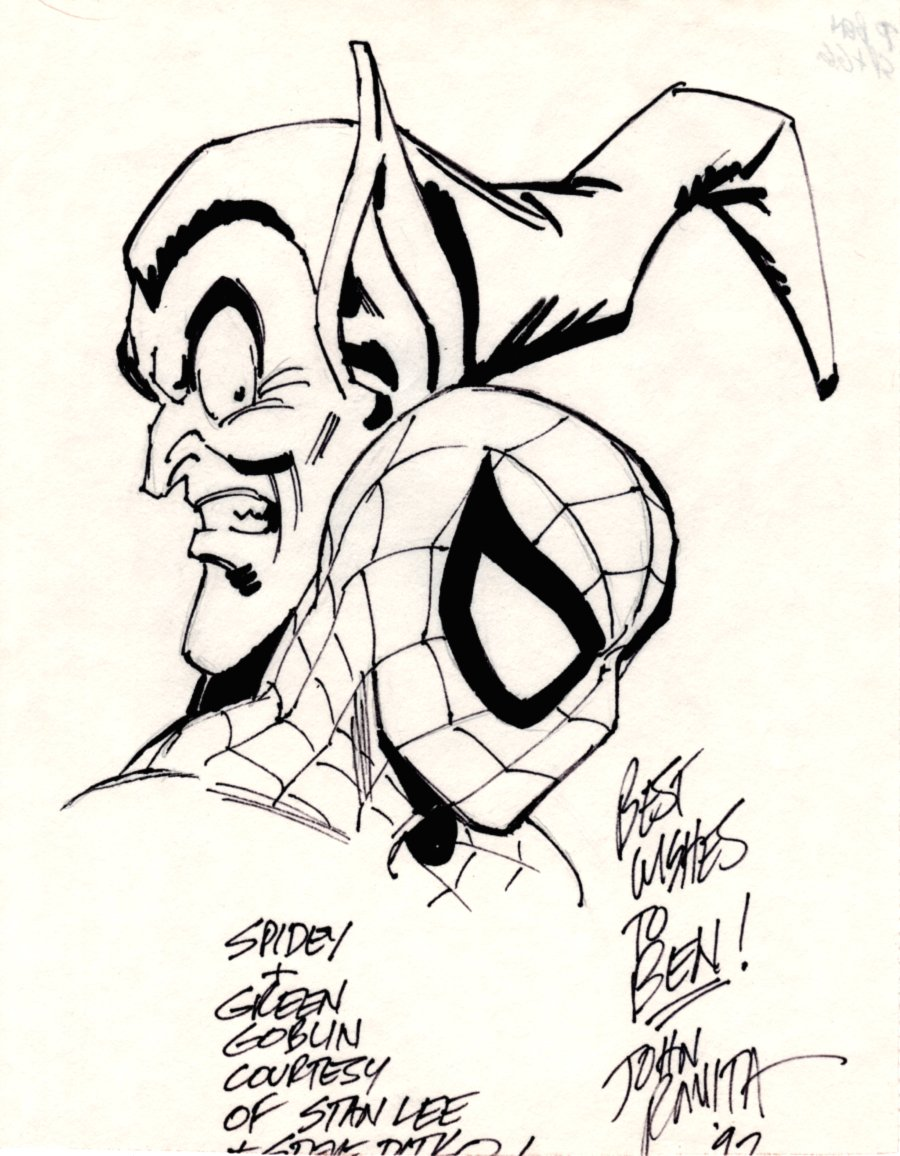 Spider-Man & Green Goblin Pinup (SOLD LIVE ON 'DUELING DEALERS OF COMIC ART' EPISODE #30 PODCAST ON 8-9-2021 (RE-WATCH THIS FUNNY ART SELLING SHOW HERE)