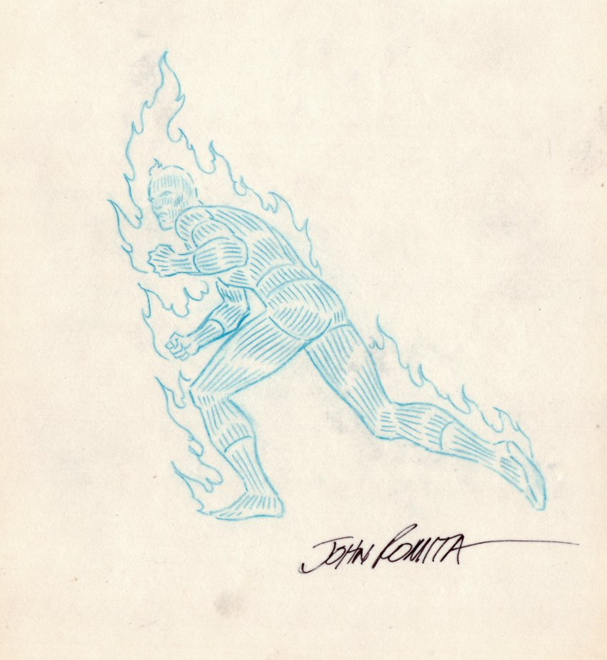 Human Torch Detailed Pinup (SOLD LIVE ON 'DUELING DEALERS OF COMIC ART' EPISODE #34 PODCAST ON 9-1-2021(RE-WATCH THIS FUNNY ART SELLING SHOW HERE)