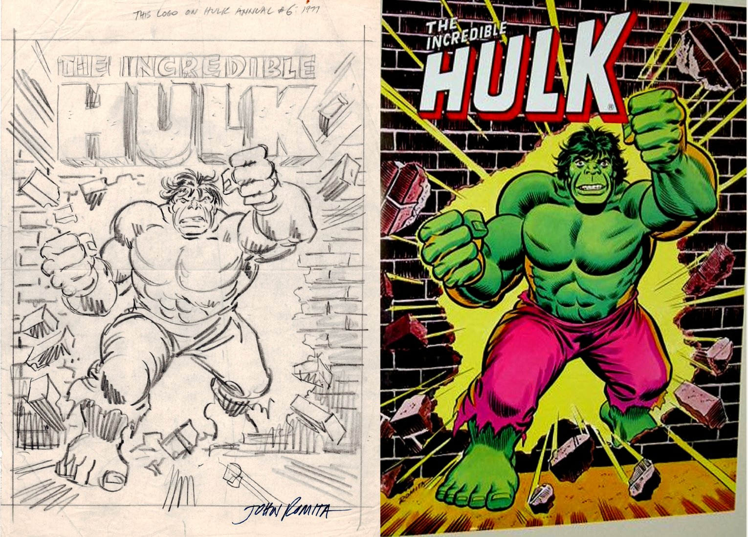 Incredible Hulk 1978 Poster Prelim (SOLD LIVE ON 'DUELING DEALERS OF COMIC ART' EPISODE #22 PODCAST ON 6-16-2021 (RE-WATCH THIS FUNNY ART SELLING SHOW HERE)