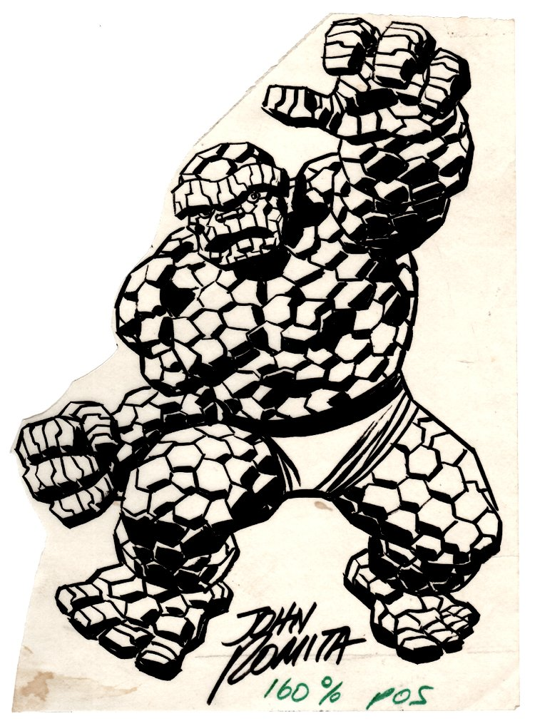 Thing Published Ink Pinup (SOLD LIVE ON 'DUELING DEALERS OF COMIC ART' EPISODE #19 PODCAST ON 5-26-2021 (RE-WATCH THIS FUNNY ART SELLING SHOW HERE)