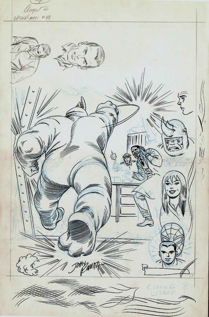Amazing Spider-Man #43 p 1 Un-Used SPLASH (LARGE ART) 1966