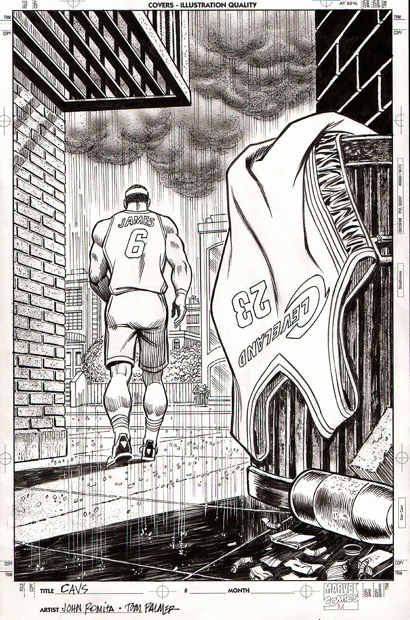 Amazing Spider-man #50 Homage Pinup -Lebron James LEAVES CLEVELAND..AGAIN... Sports Illustrated Published Pinup