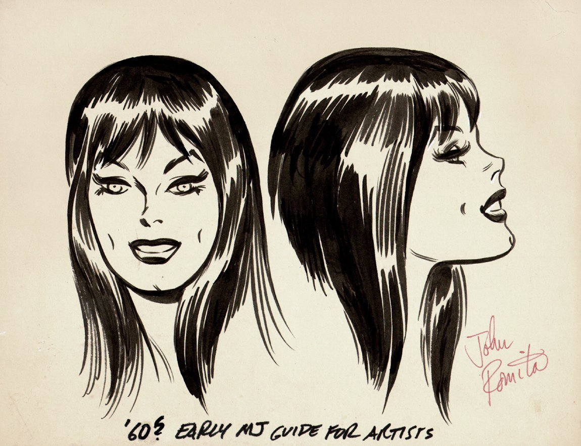John Romita 1960's Very Early Mary Jane Watson Style Guide Drawings!