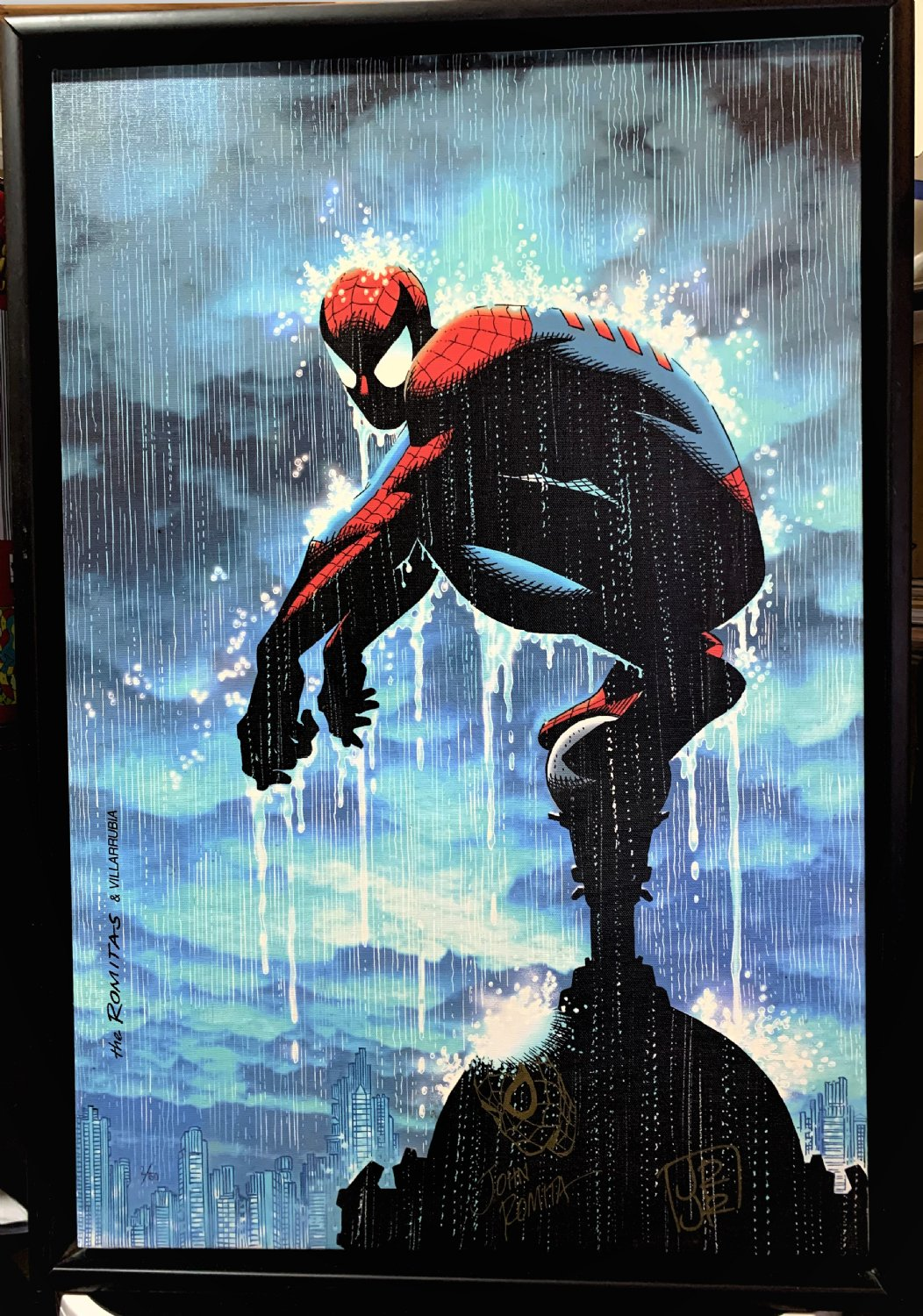Spider-Man In The Rain Limited Edition Framed, Number 2 of 50, Canvas Giclee (With SPIDERMAN DRAWING BY ROMITA SR) Signed By Both Romita Sr & Jr !) 2000