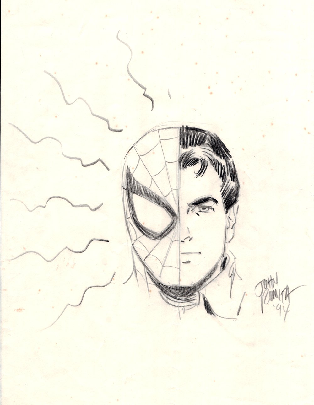 Spider-Man / Peter Parker Pinup (SOLD LIVE ON 'DUELING DEALERS OF COMIC ART' EPISODE #7 PODCAST ON 3-10-2021 (RE-WATCH OUR LIVE ART SELLING PODCAST HERE!)