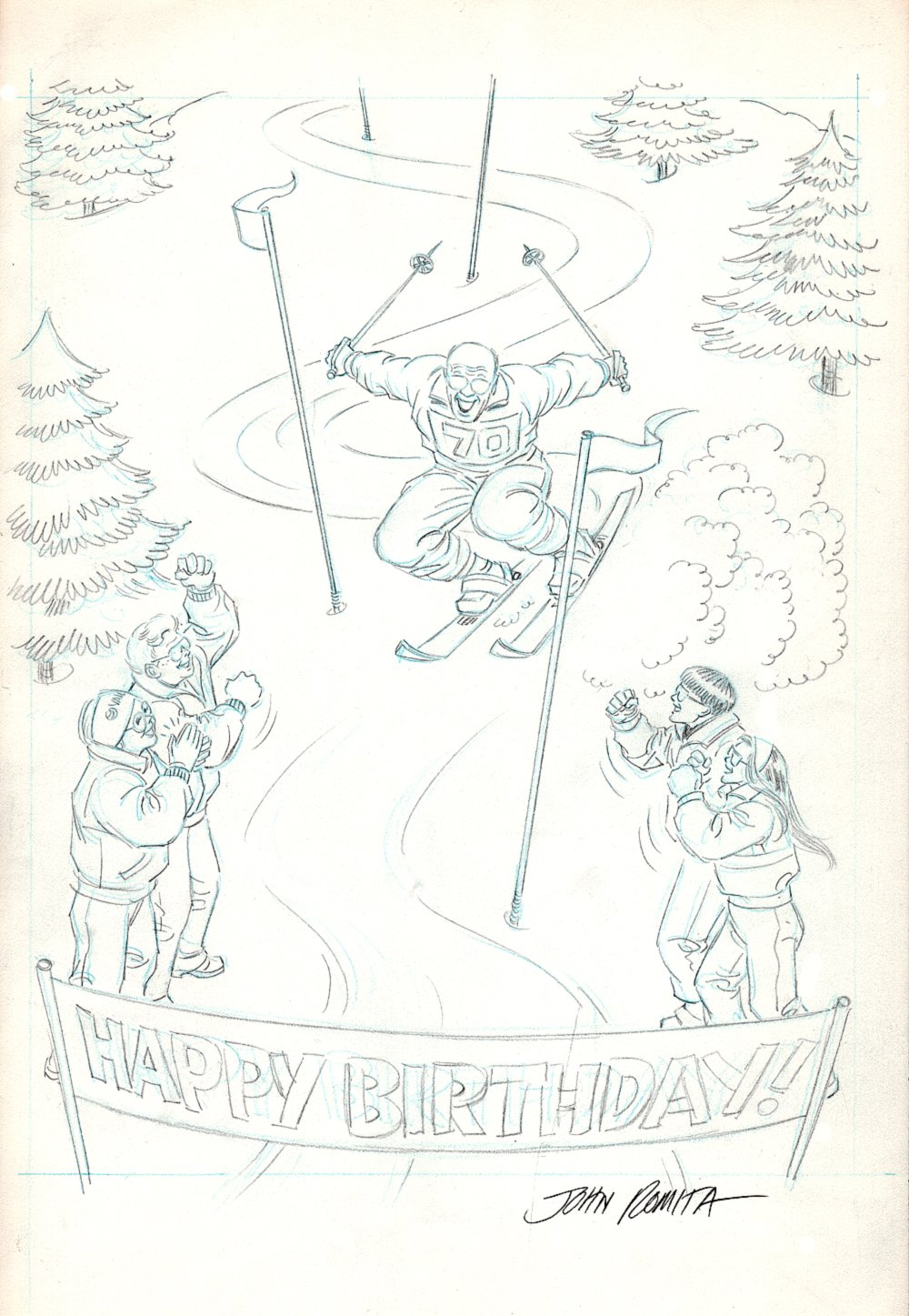 Julie Schwartz 70th Birthday Card Art (SOLD LIVE ON 'DUELING DEALERS OF COMIC ART' EPISODE #11 PODCAST ON 4-7-2021 (RE-WATCH OUR LIVE ART SELLING PODCAST HERE!)