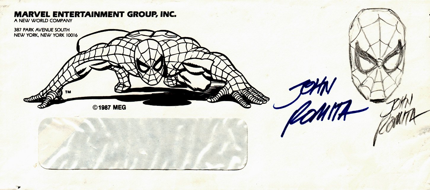 Spider-Man Drawing On 1980s Marvel Spider-Man Envelope, Signed TWICE!
