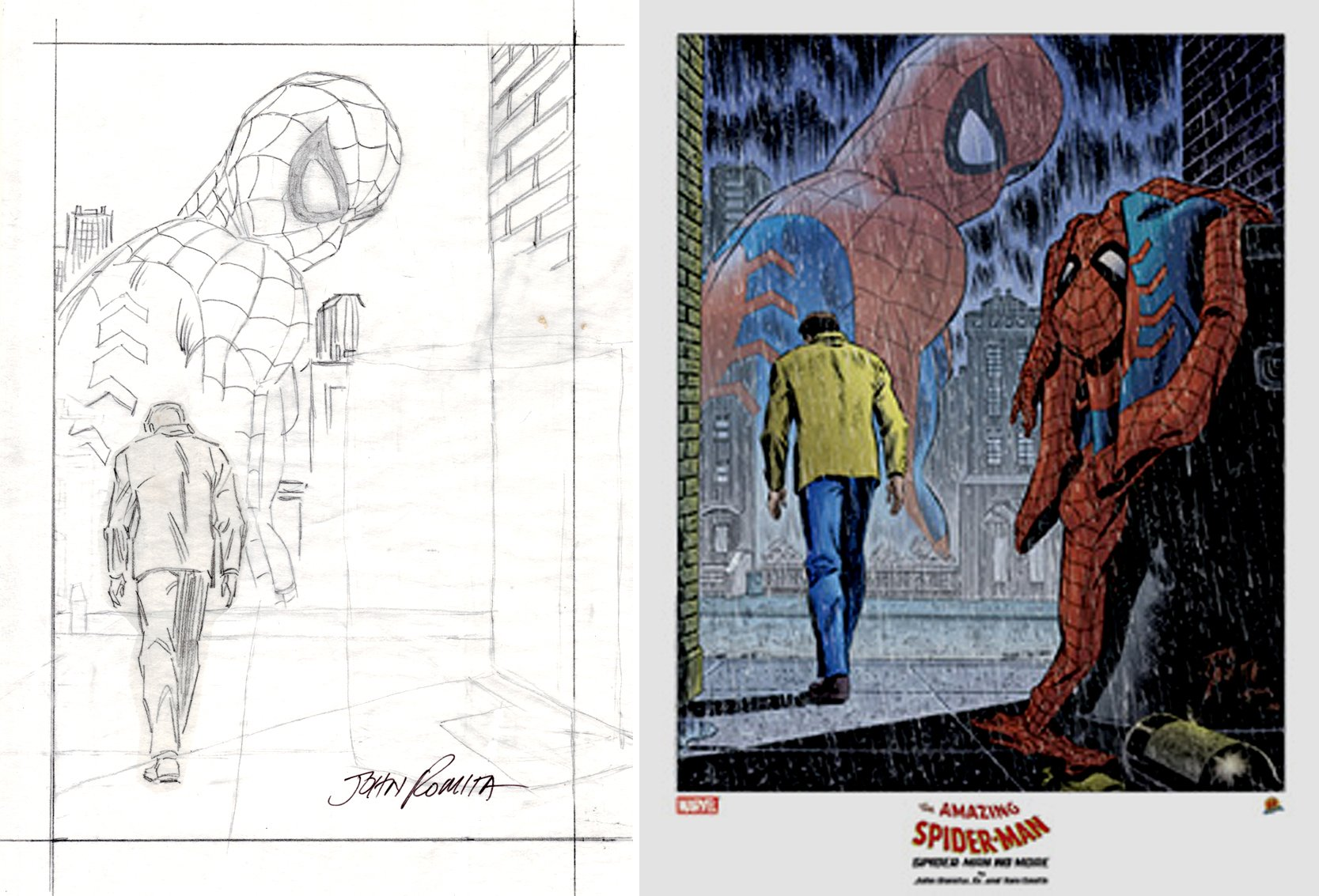 SPIDER-MAN: NO MORE! JOHN ROMITA SR. LITHOGRAPH PENCIL PRELIM (SOLD LIVE ON 'DUELING DEALERS OF COMIC ART' EPISODE #15 PODCAST ON 5-1-2021 (RE-WATCH OUR LIVE ART SELLING PODCAST HERE)