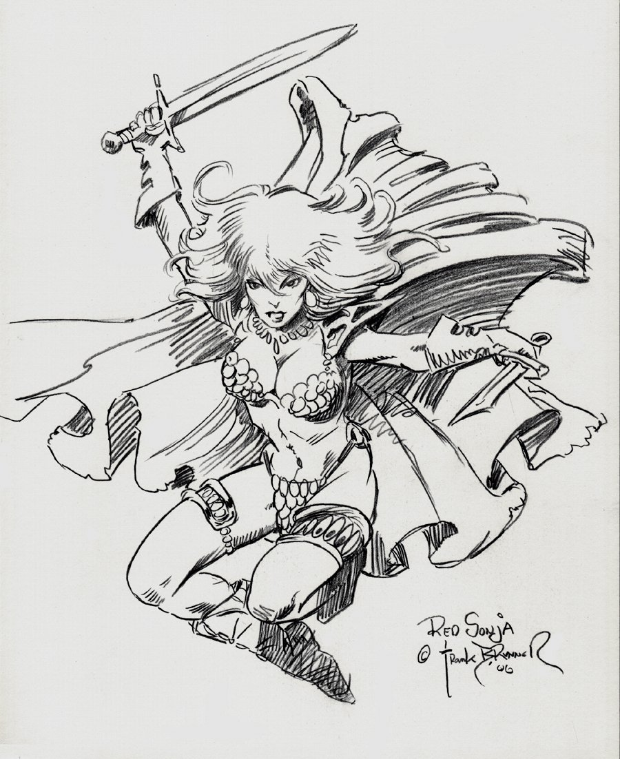 Red Sonja Pinup (SOLD LIVE ON 'DUELING DEALERS OF COMIC ART' EPISODE #31 PODCAST ON 8-14-2021(RE-WATCH THIS FUNNY ART SELLING SHOW HERE)