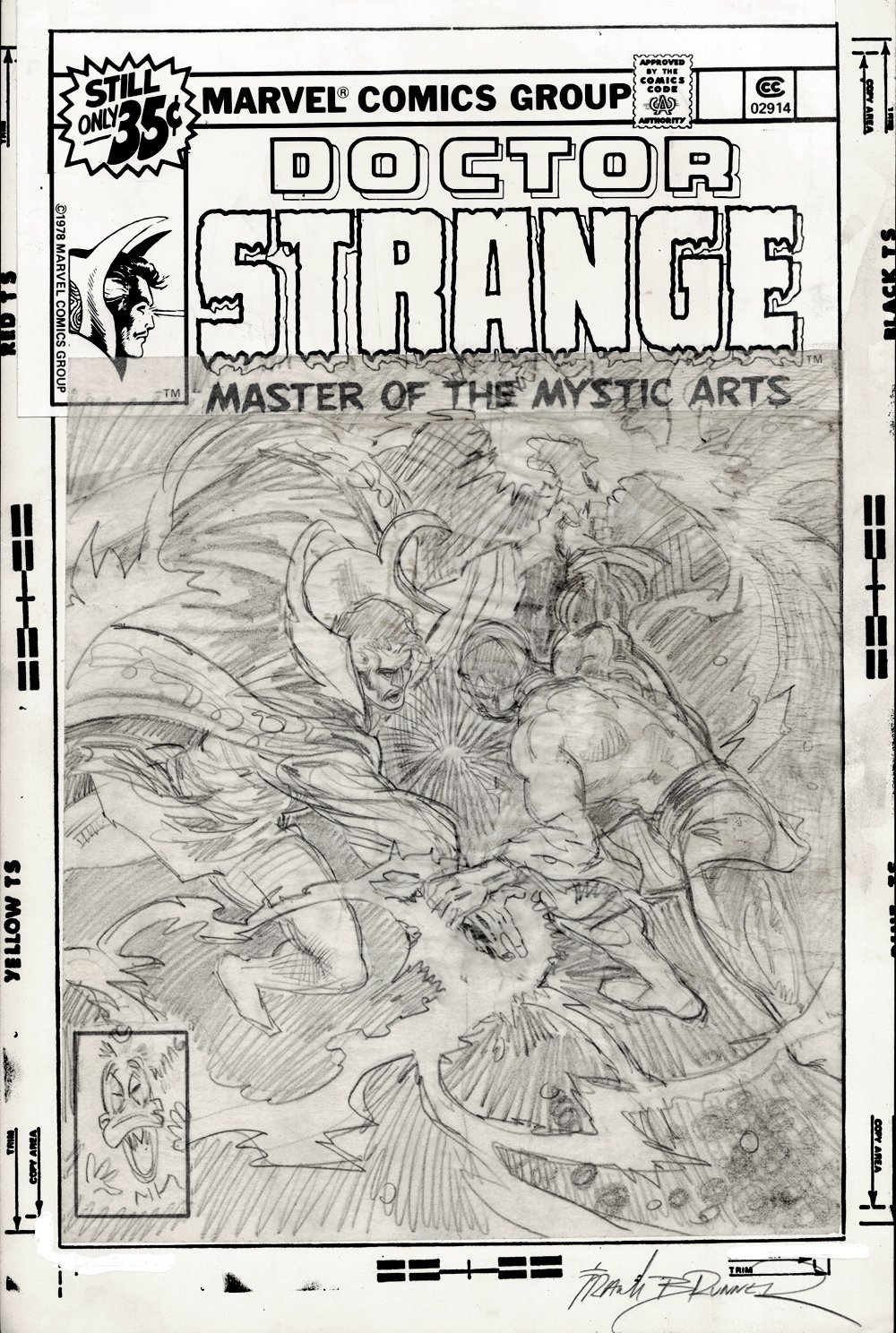 Doctor Strange #28 Cover Pencils (SOLD LIVE ON 'DUELING DEALERS OF COMIC ART' EPISODE #38 PODCAST ON 9-29-2021(RE-WATCH THIS FUNNY ART SELLING SHOW HERE)